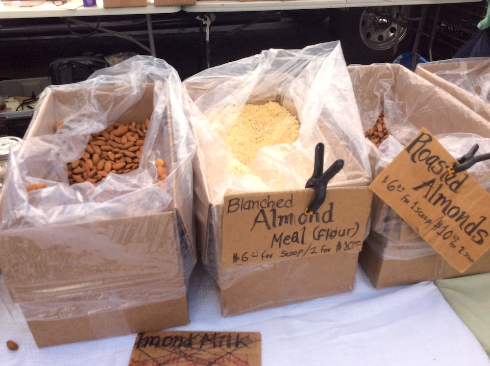 Raw almonds, roasted almonds, and blanched almond meal from Fat Uncle Farms