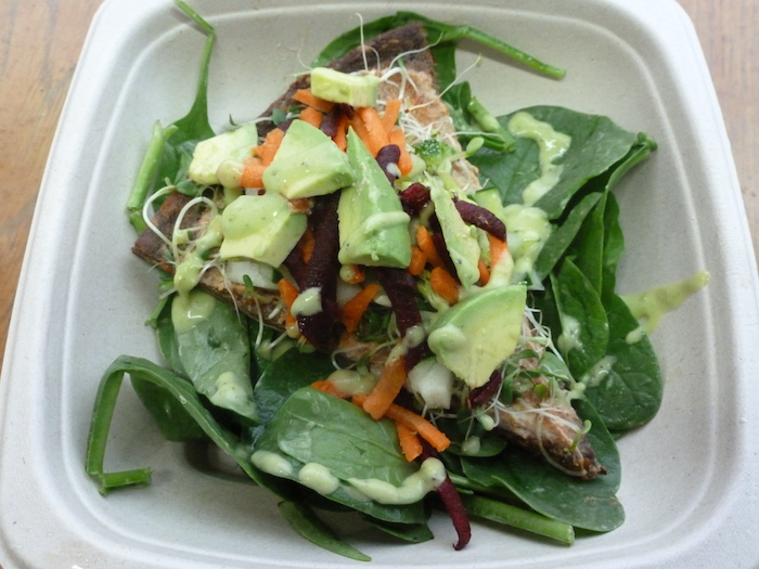 Raw Pizza Salad with Avocado at Fuel Juice Bar (click image to order in Treatmo on iPhone)