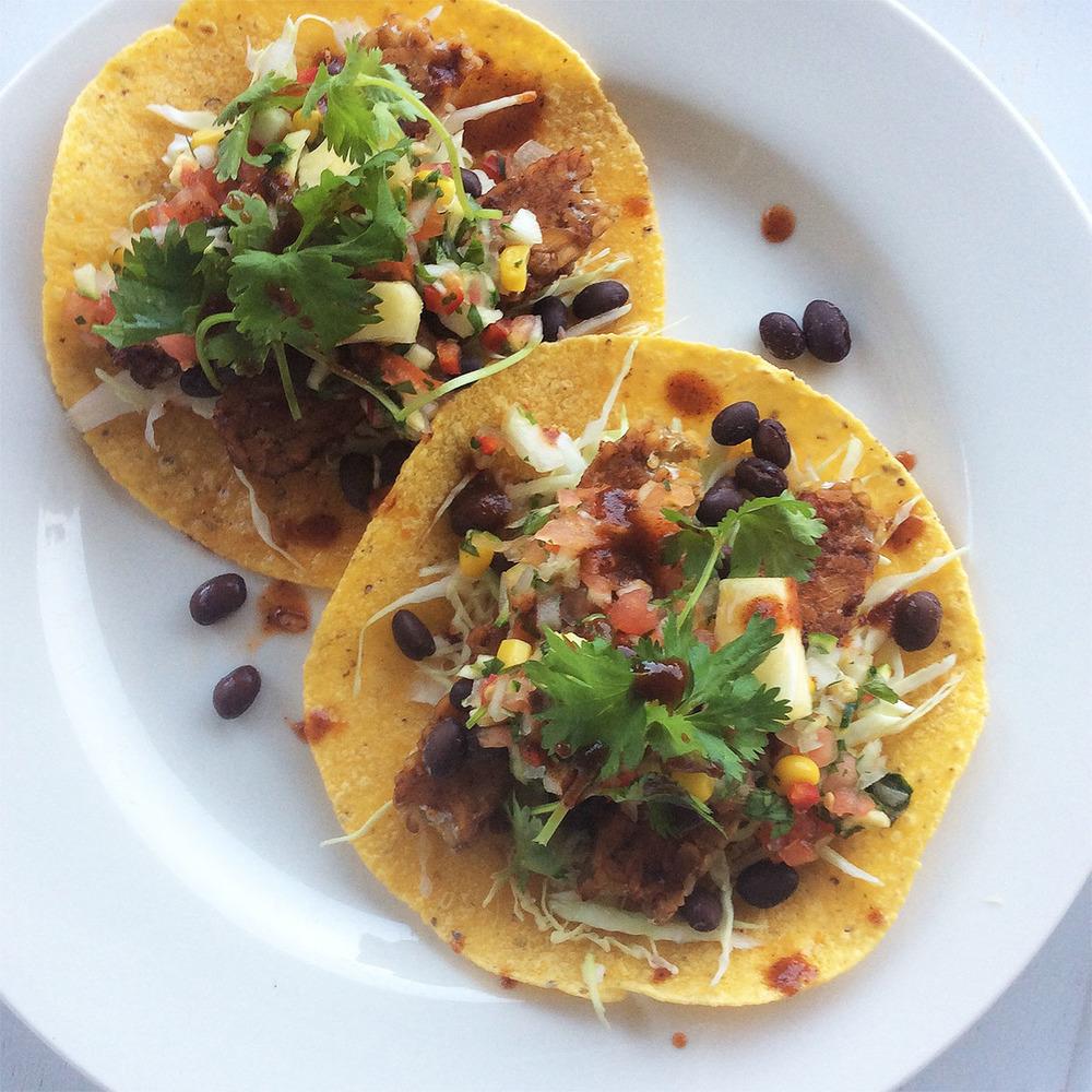 Tempeh Tacos Al Pastor with OKB Sauce