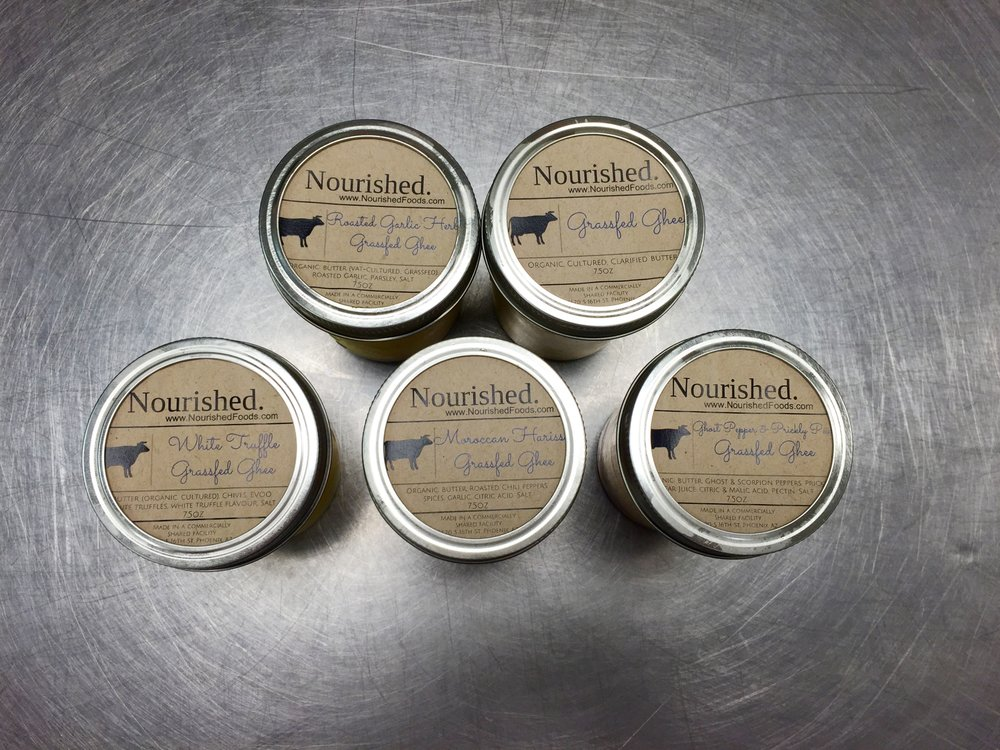 Nourished Foods Artisanal Ghee. Comes in garlic herb, ghost pepper & prickly pear, moroccan harissa, white truffle and original. Yum.