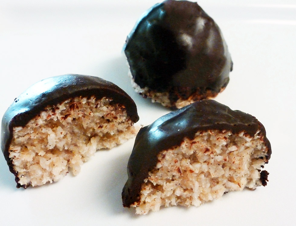 Chocolate dipped coconut macaroons by b Naked Chocolates