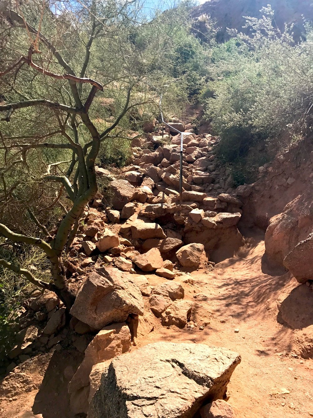 The beginning of the steep part of Camelback Mountain in Phoenix