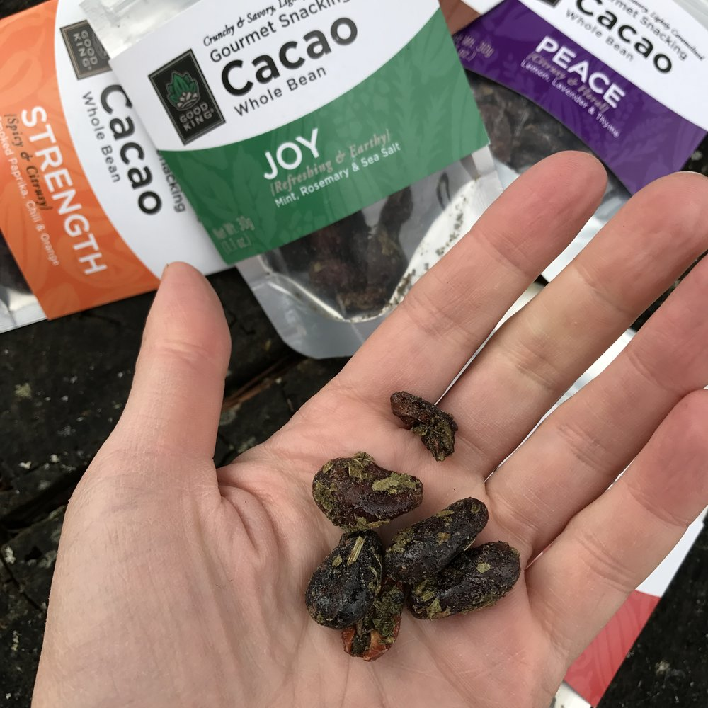 Joy - mint and rosemary flavored cacao beans by Good King Cacao