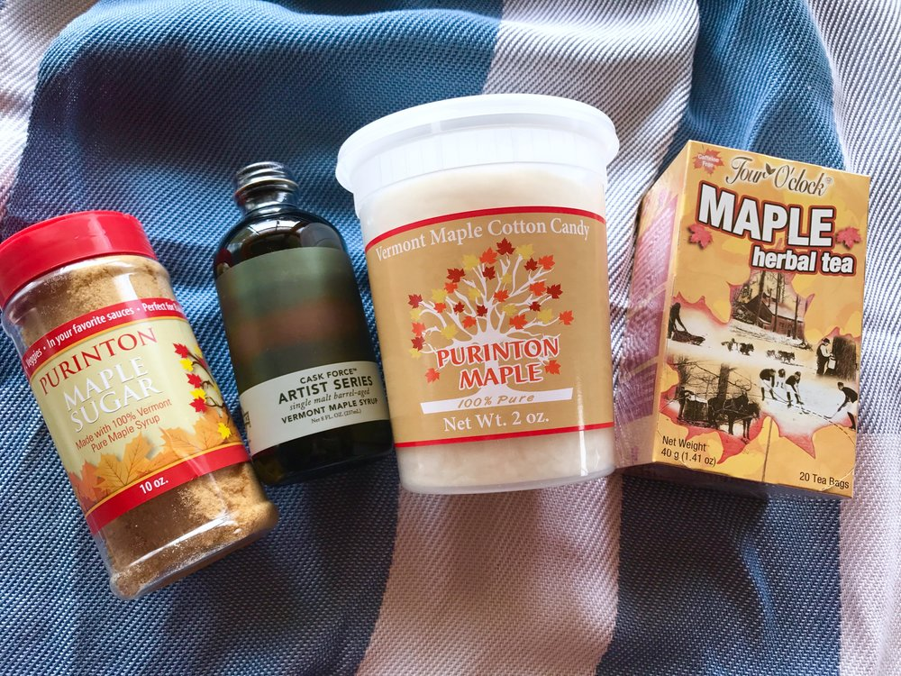 Purinton Maple Tea Lovers Delight Package comes with their Maple Sugar, Special Edition Artist Series Collaboration with Cask Force, single malt, barrel-aged Purinton maple syrup and tea.