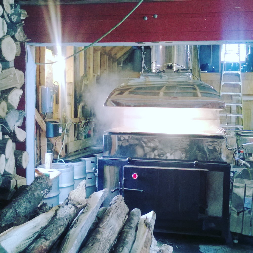 Wood fired oven removes water from the maple sap