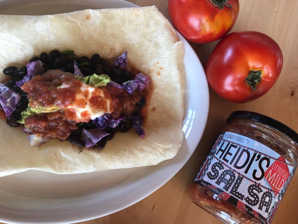 Enjoyed Heidi's Salsa 'Mild' with this burrito of garden fresh vegetables!