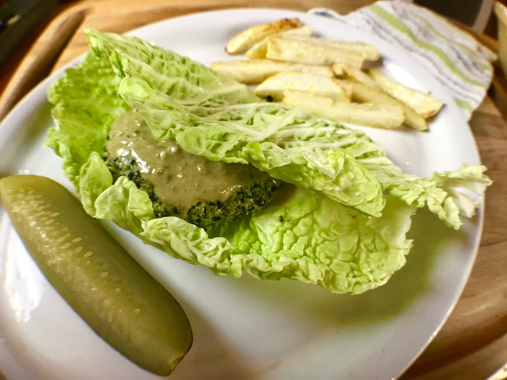 Golden beet burger with Seattle Pickle Co pickles!
