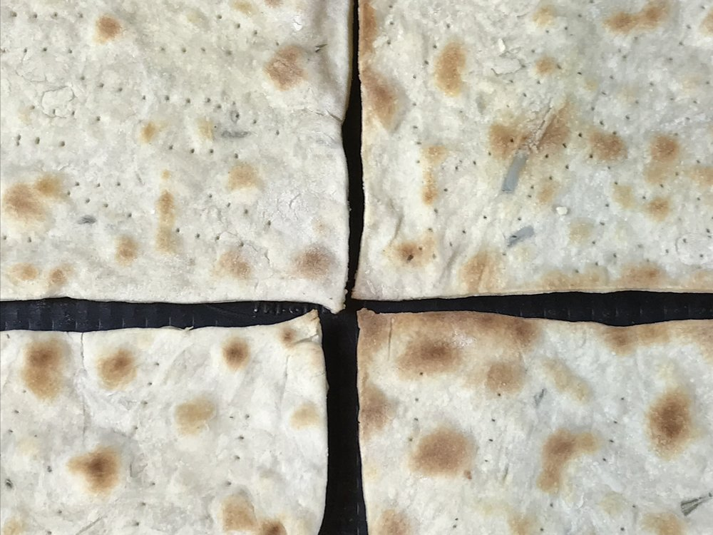 Fresh matzo crackers out of the oven!