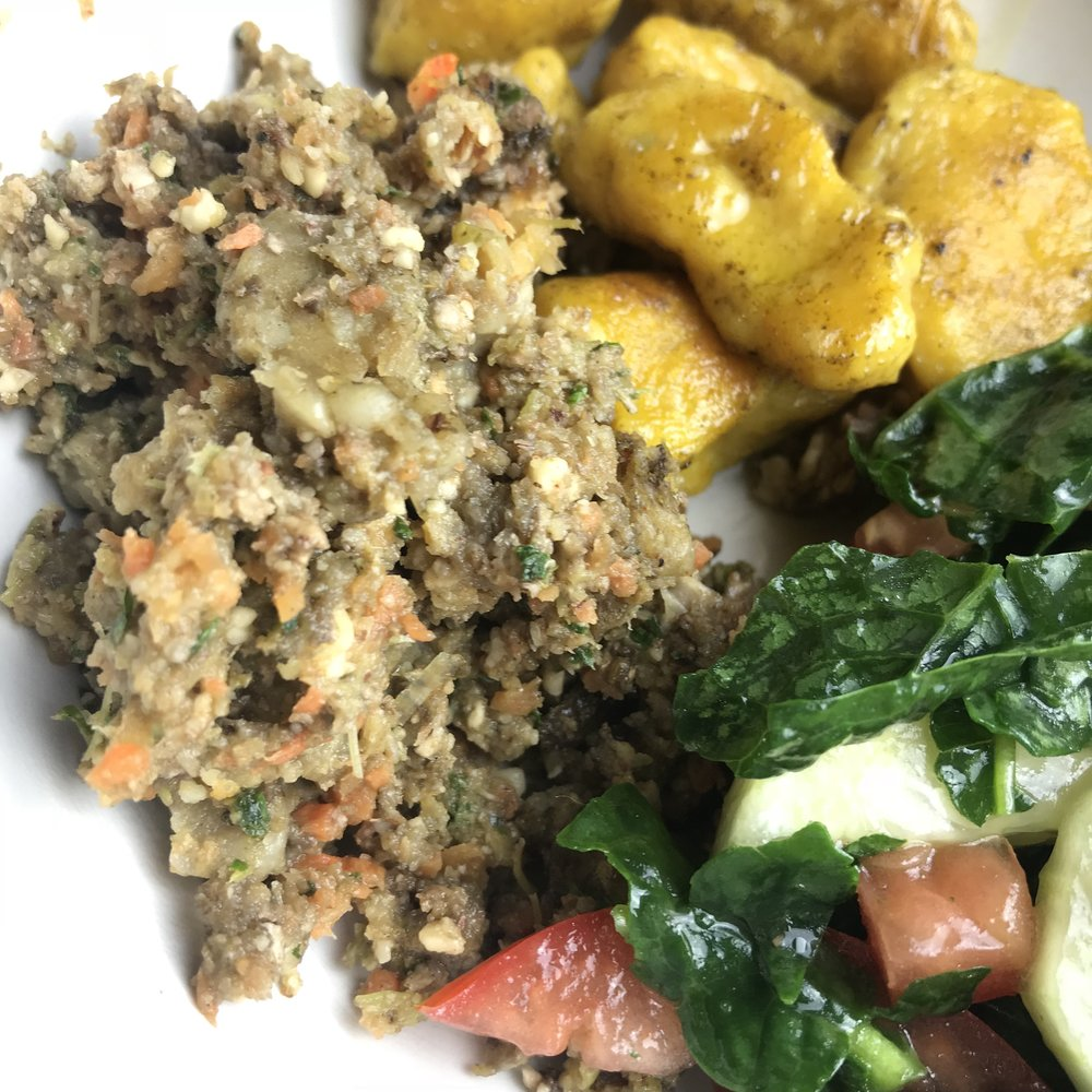 The first time I made the gnocchi, I served it with this vegan  stuffing .
