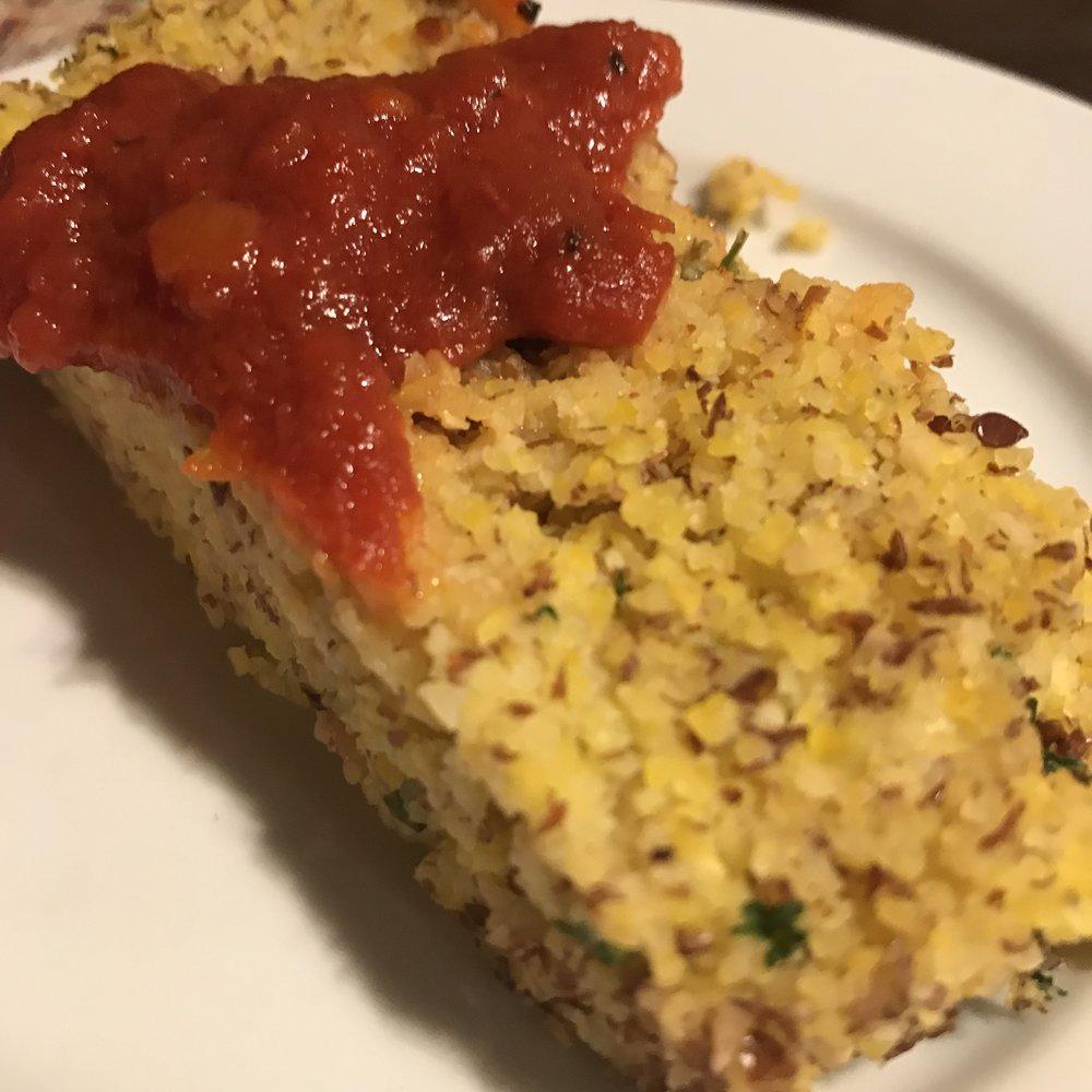 Polenta cake with Jar Goods tomato sauce.
