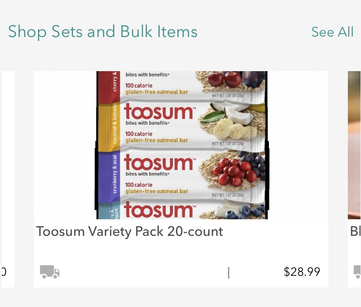 Bulk Ordering Carousel on Treatmo iOS App