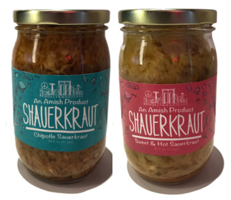 Chipotle Sauerkraut and Sweet & Sour Sauerkraut by Brooklyn Whater