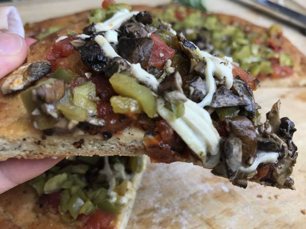 A healthier mushroom and peppers pizza with our pizza essentials.