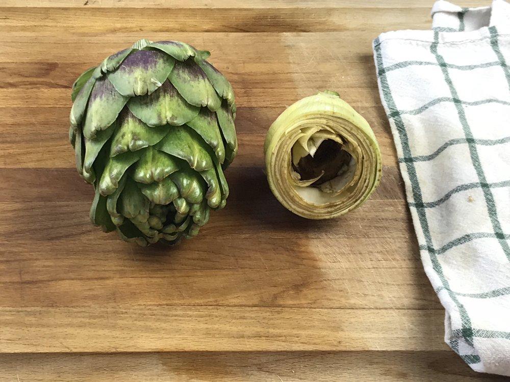 Making artichoke dip!
