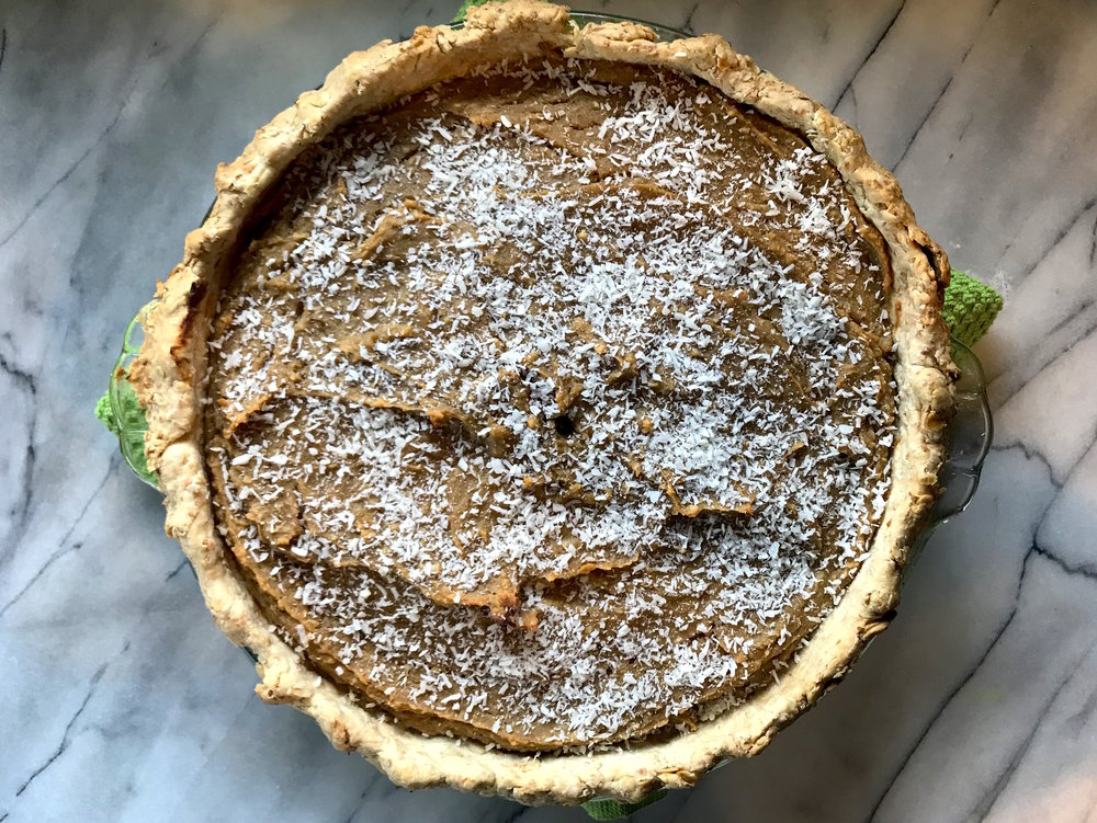 Sweet potato pie with coconut oil crust