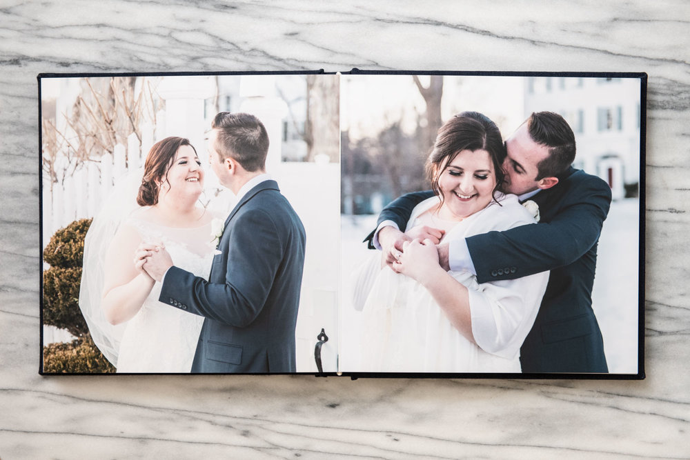 Katelyn + Joe | St. Patrick's Day Topsfield Commons Spring Wedding | Boston and New England Wedding Photography Print Album with Cathedral Veil | Lorna Stell Photo