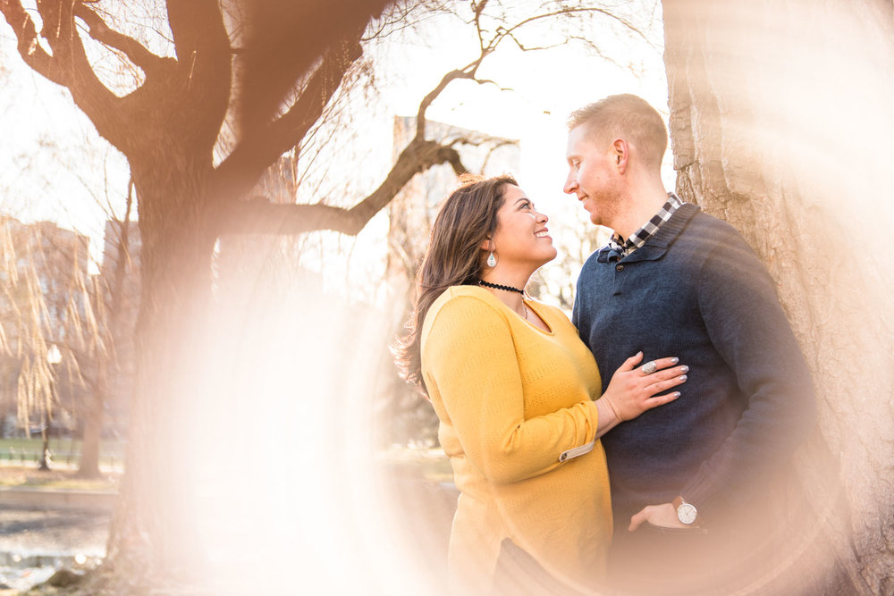 Andrea + Scott | Dog Lovers Boston Public Garden Casual Spring Sunrise Creative Engagement Session | Boston and New England Engagement Photography | Lorna Stell Photo