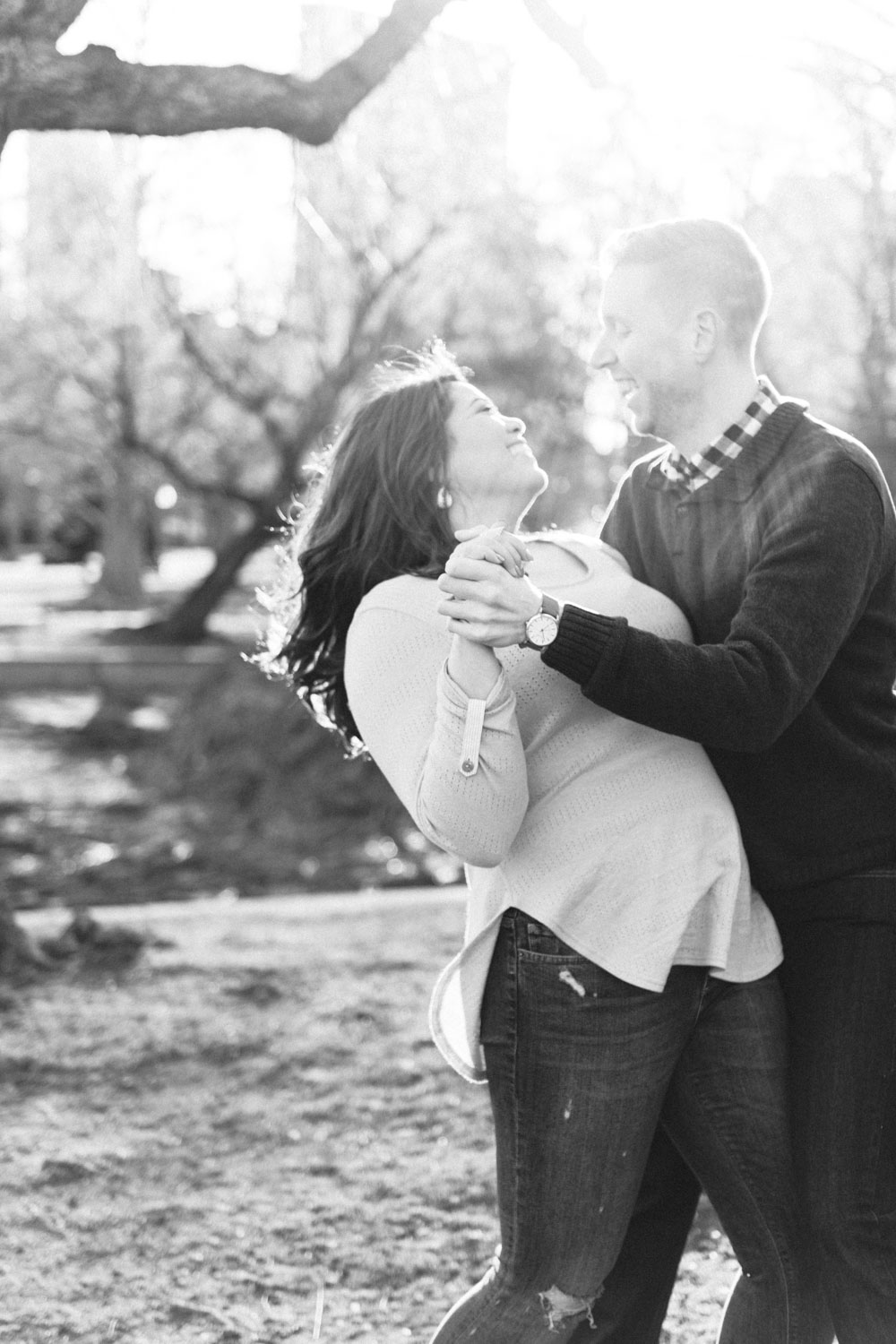 Andrea + Scott | Dog Lovers Boston Public Garden Casual Spring Sunrise Creative Alternative Organic Romantic Engagement Session | Boston and New England Engagement Photography | Lorna Stell Photo