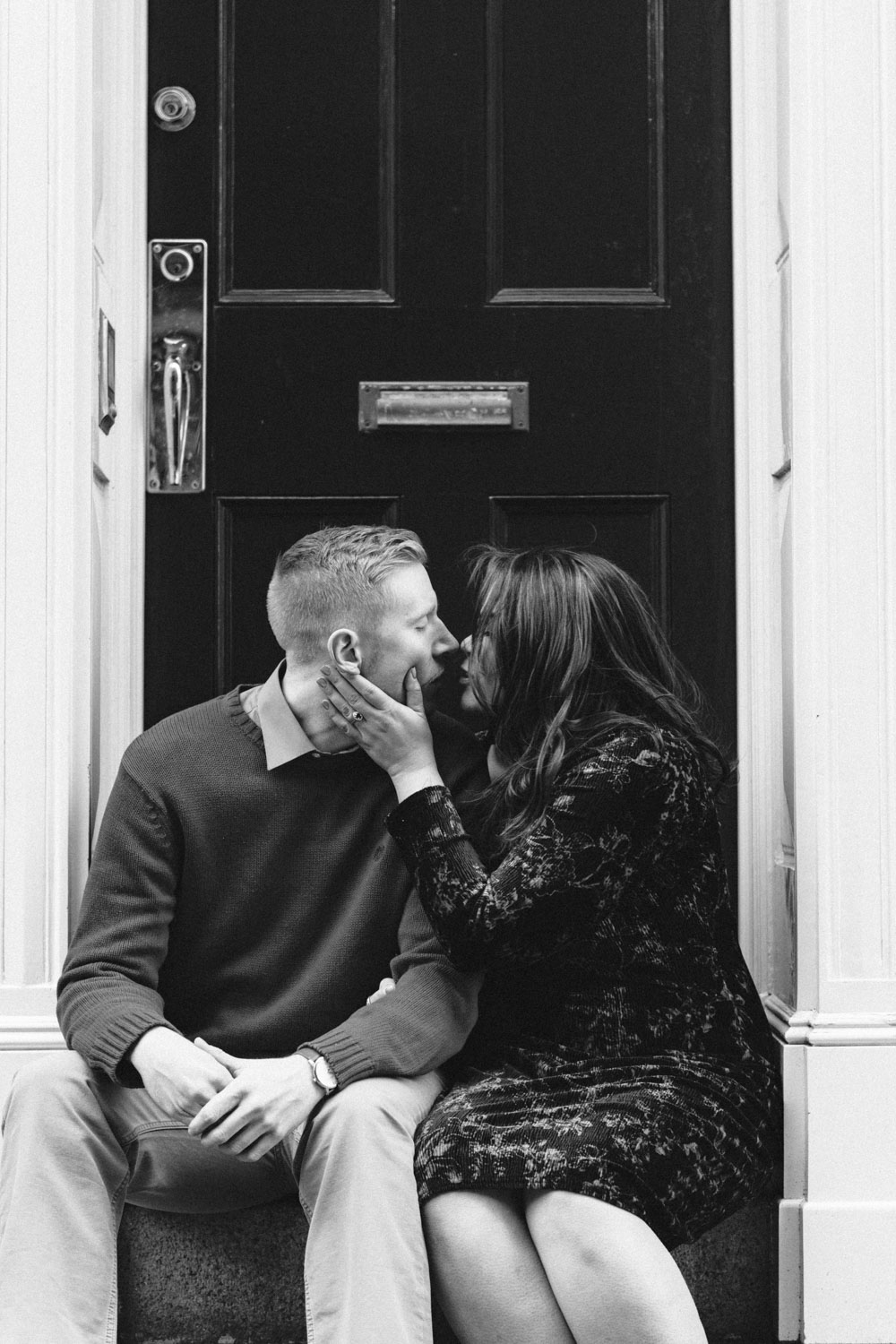 Andrea + Scott | Dog Lovers Beacon Hill Formal Spring Sunrise Creative Organic Romantic Engagement Session | Boston and New England Engagement Photography Black and White | Lorna Stell Photo