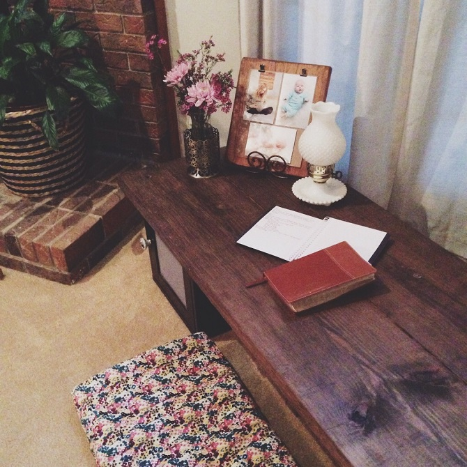 Our meditation bench, tucked away in one corner of our living room.