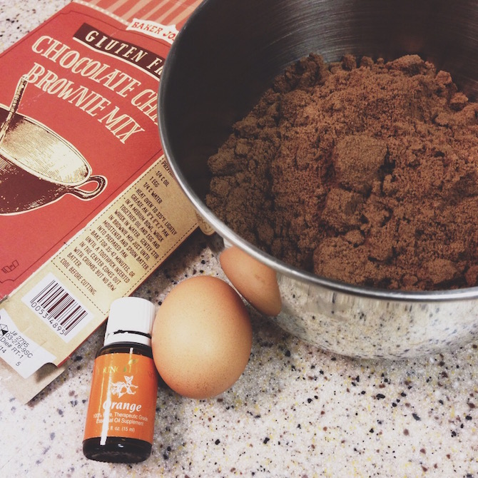 A drop or two of orange oil in your brownie mix, because hello! Orange + chocolate.