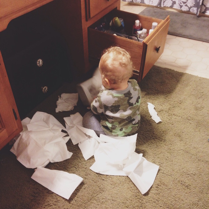 He found the box of tissues.....