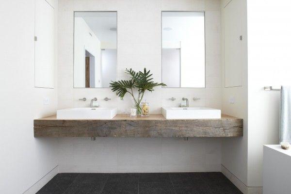 Reclaimed wood + white sinks