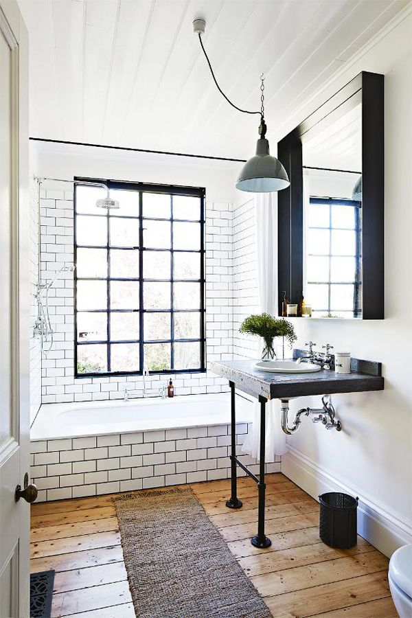 White subway tile + dark grout + rough hewn flooring + black accents