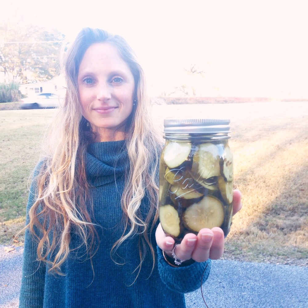 I snagged a jar of my mom's homemade pickles, so so good!