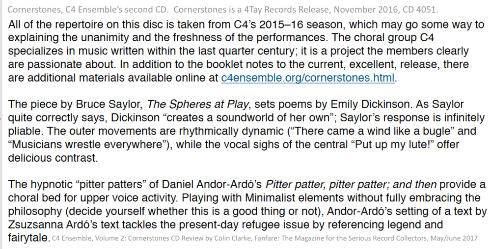 17 US NY C4 Cornerstones CD PitterPatter review Fanfare Magazine.png