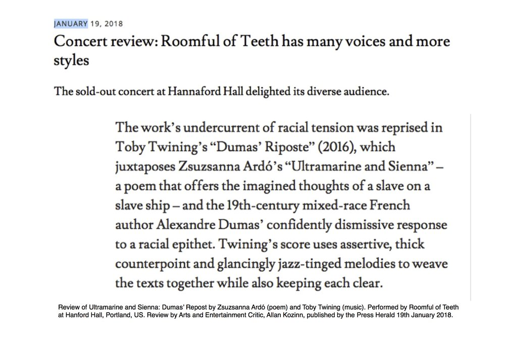 Dumas Repost by Zsuzsanna Ardó and Toby Twining, performed by Roomful of Teeth, reviewed by the Press Herald