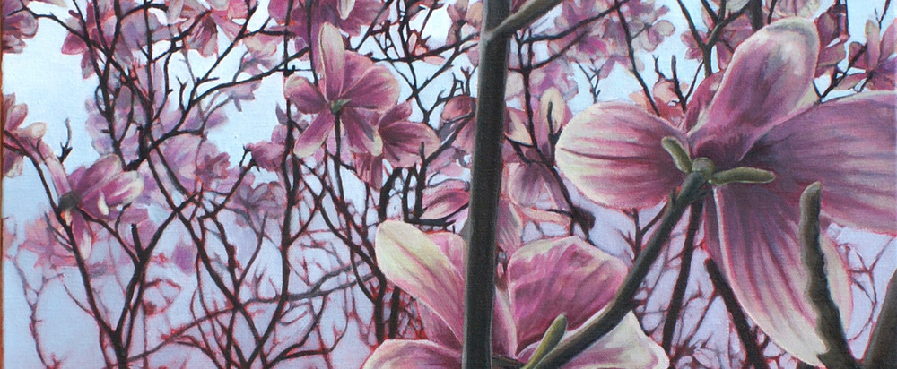 "Magnolia Tree  a 24x18x1.5 ""  acrylic on canvas by Maria Rizzo ."