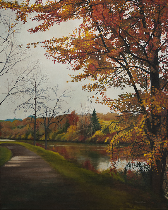 "Trees Along The Canal, 30x24"" acrylic on canvas by Maria Rizzo."