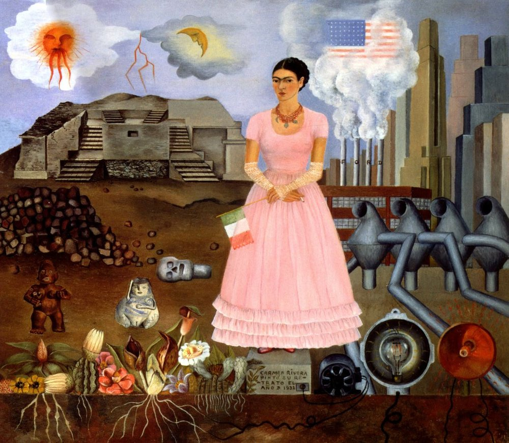 """Self-portrait on the Borderline Between Mexico and the United States, 1932, Oil on metal, 12 1/2"""" x 13 3/4"""", Collection of Mr. and Mrs. Manuel Reyero. Source:  http://www.pbs.org"""