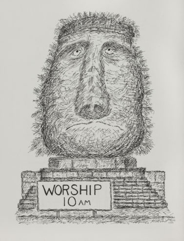 Edward Koren, Worship 10 a.m., 1991, SUArt Gallery.