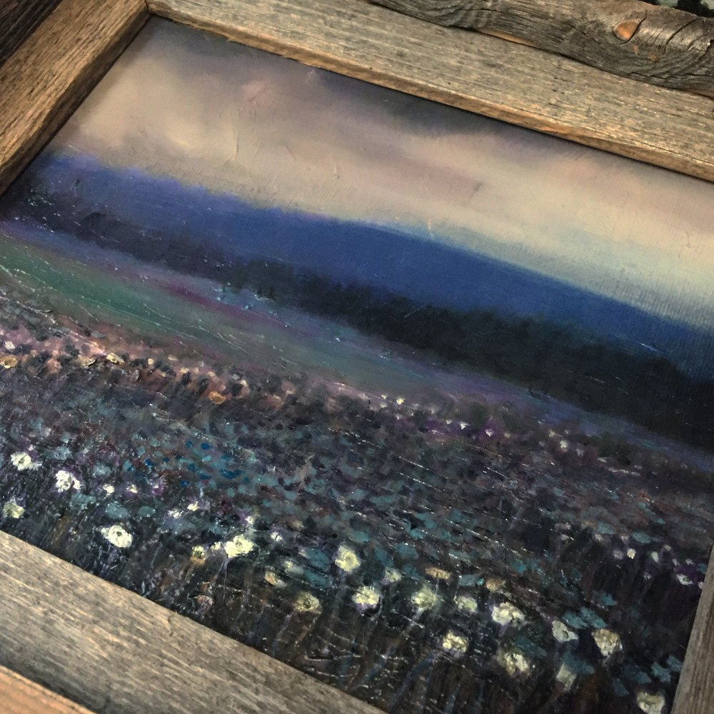 Flower-field at Night , 8x10' oil on canvas by Maria Rizzo, 2017.