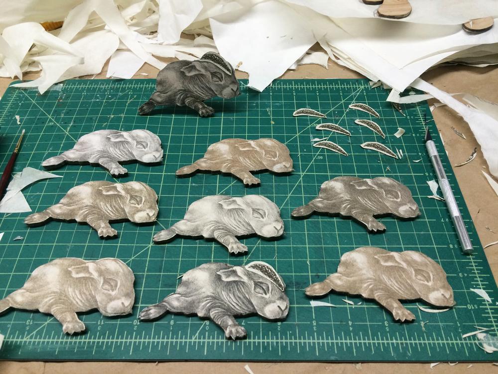 Process: Adding Intaglio Armadillo Armor to each Rabbit
