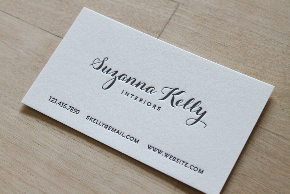 Modern Calligraphy   Letterpress Business Cards