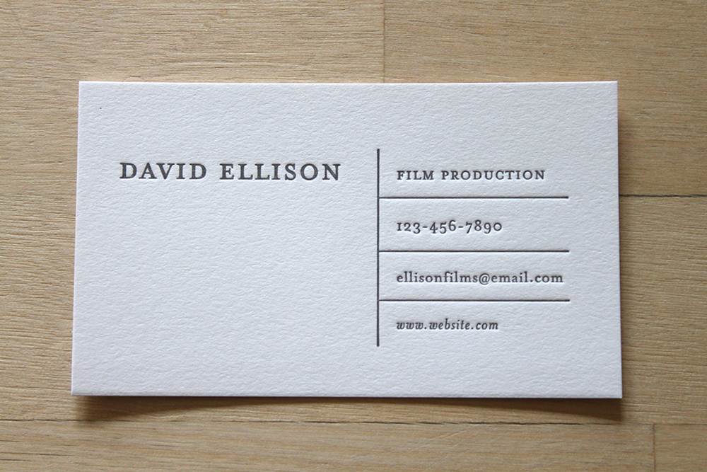 Horizontal Lines   Letterpress Business Cards