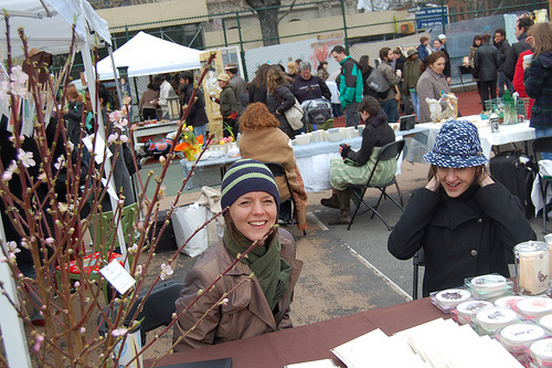 Rebecca and Breck shivering at the Brooklyn Flea in 2008