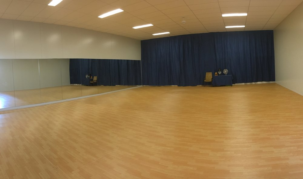 'West End' - Large Dance Studio has speciality flooring, ballet barres, full length mirrors and acrobatic mats.