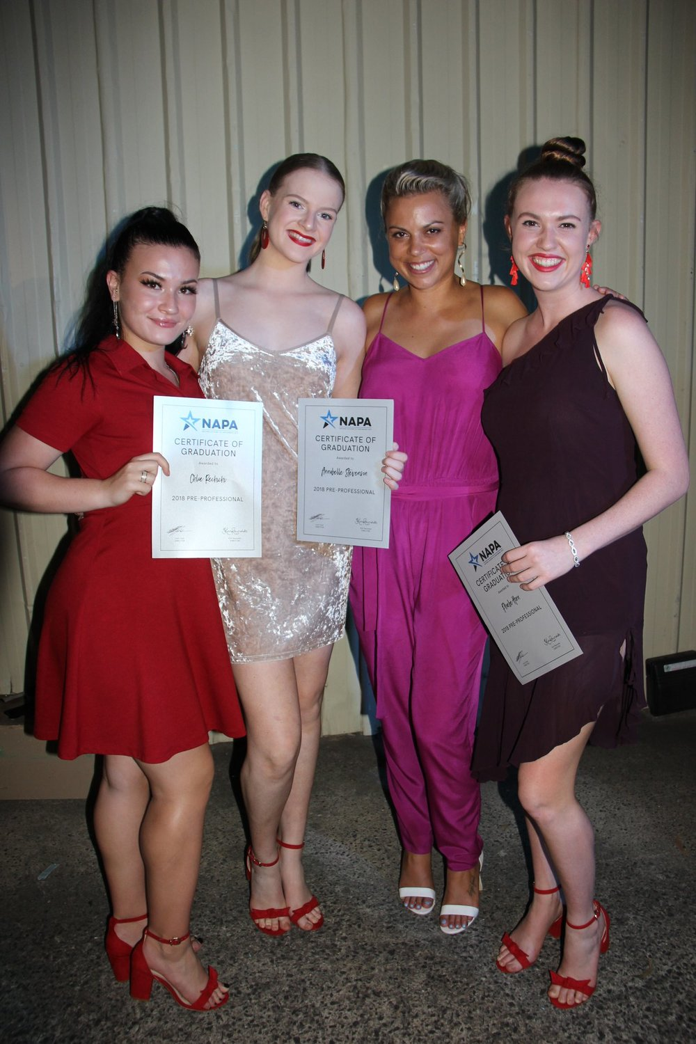 2018 Graduates - Chloe Rechichi, Annabelle Stevenson and Phoebe Horn with Miss Hollie Andrew
