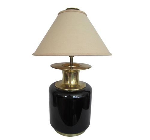 Modern large brass and black ceramic table lamp by chapman 1980s modern large brass and black ceramic table lamp by chapman 1980s aloadofball Gallery