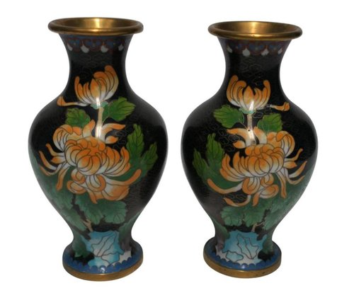 Pair Of Beautiful Vintage Black Cloisonne Vases 1970s Anne Dittmeier