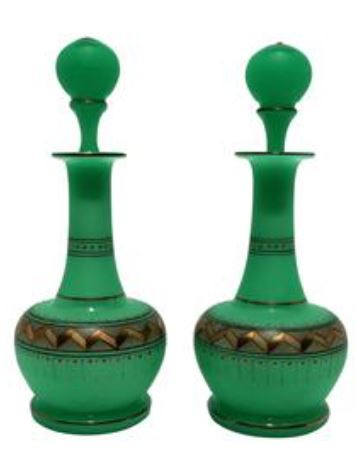 5eafc6141d576 Gorgeous Pair of Emerald Green & Gold Chevron Pattern Vanity Bottles