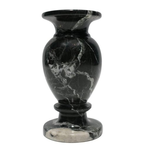 Vintage italian black and white marble urn vase