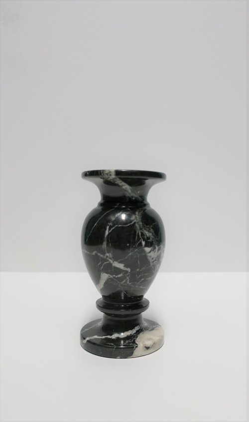 Vintage Italian Black And White Marble Urn Vase Anne Dittmeier