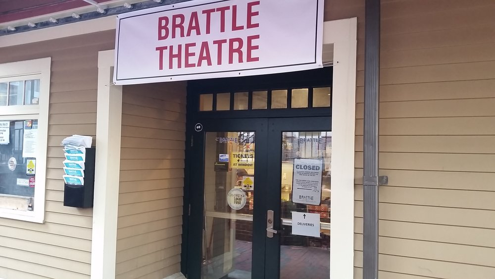 Main entrance, with the box office window to the left.