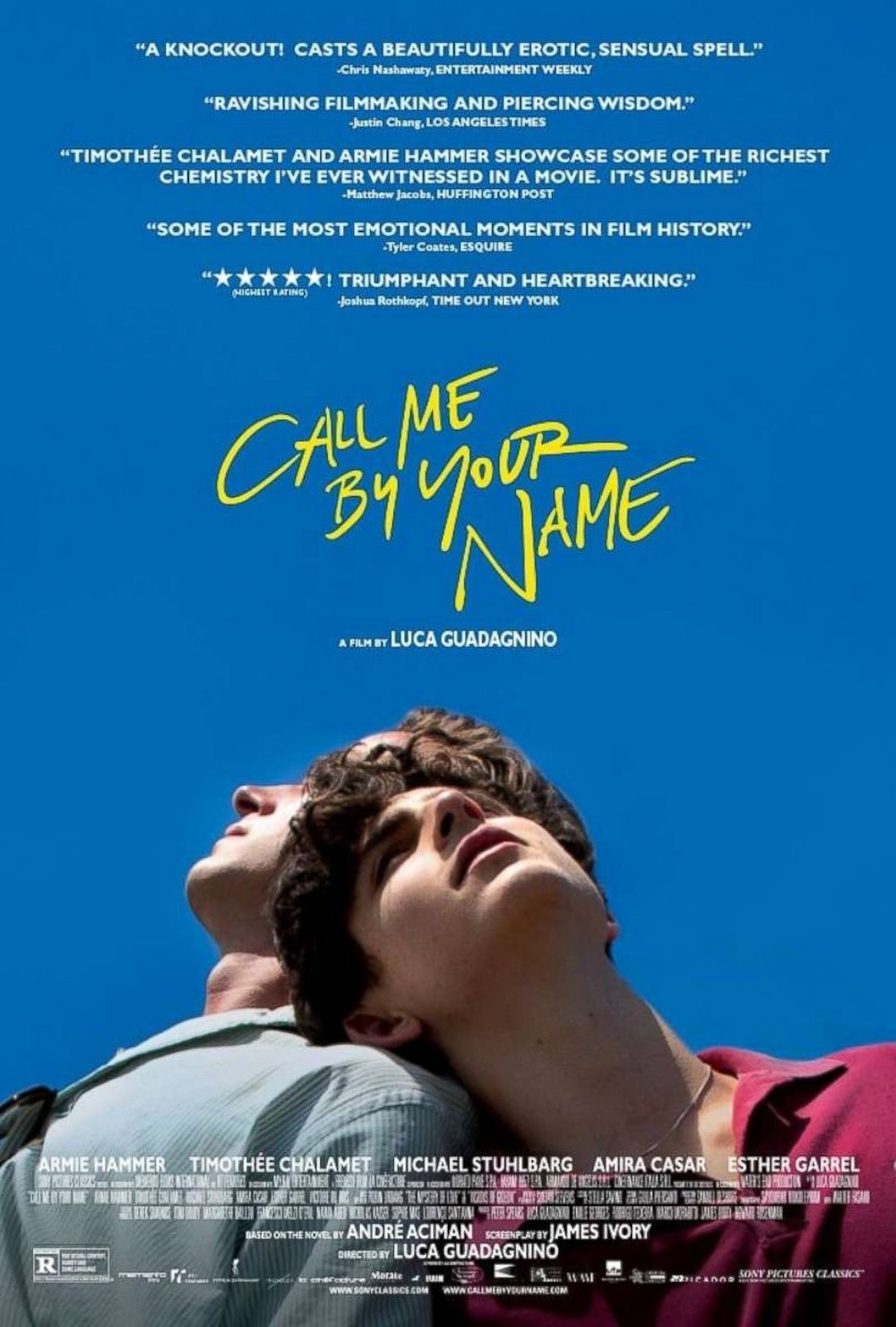 Call Me by Your Name   (2017) dir. Luca Guadagnino Rated: R image: ©2017  Sony Pictures Classics