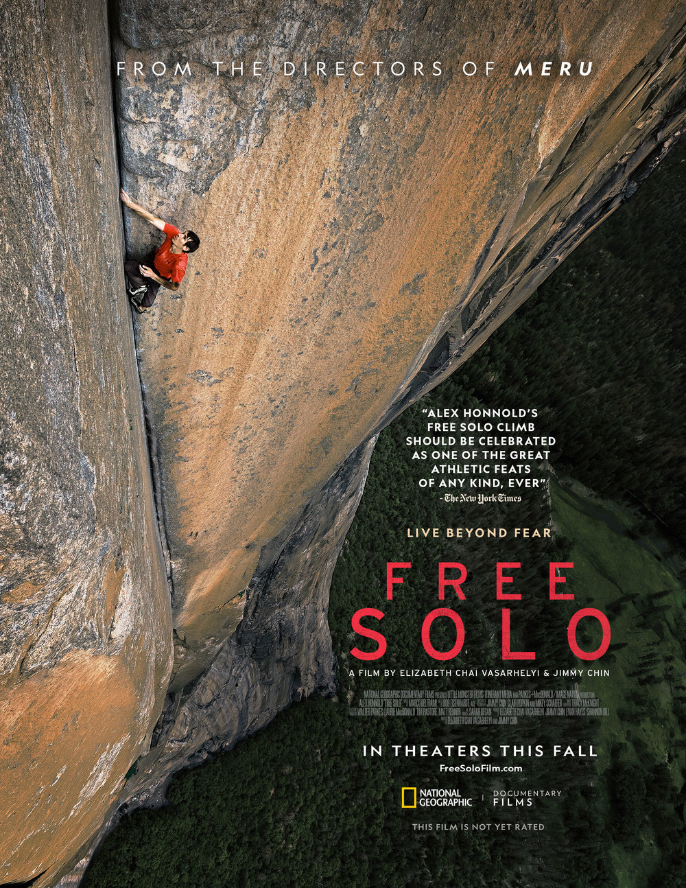 Free Solo   (2018) dir. Elizabeth Chai Vasarhelyi & Jimmy Chin Rated: PG-13 image: ©2018  National Geographic Documentary Films